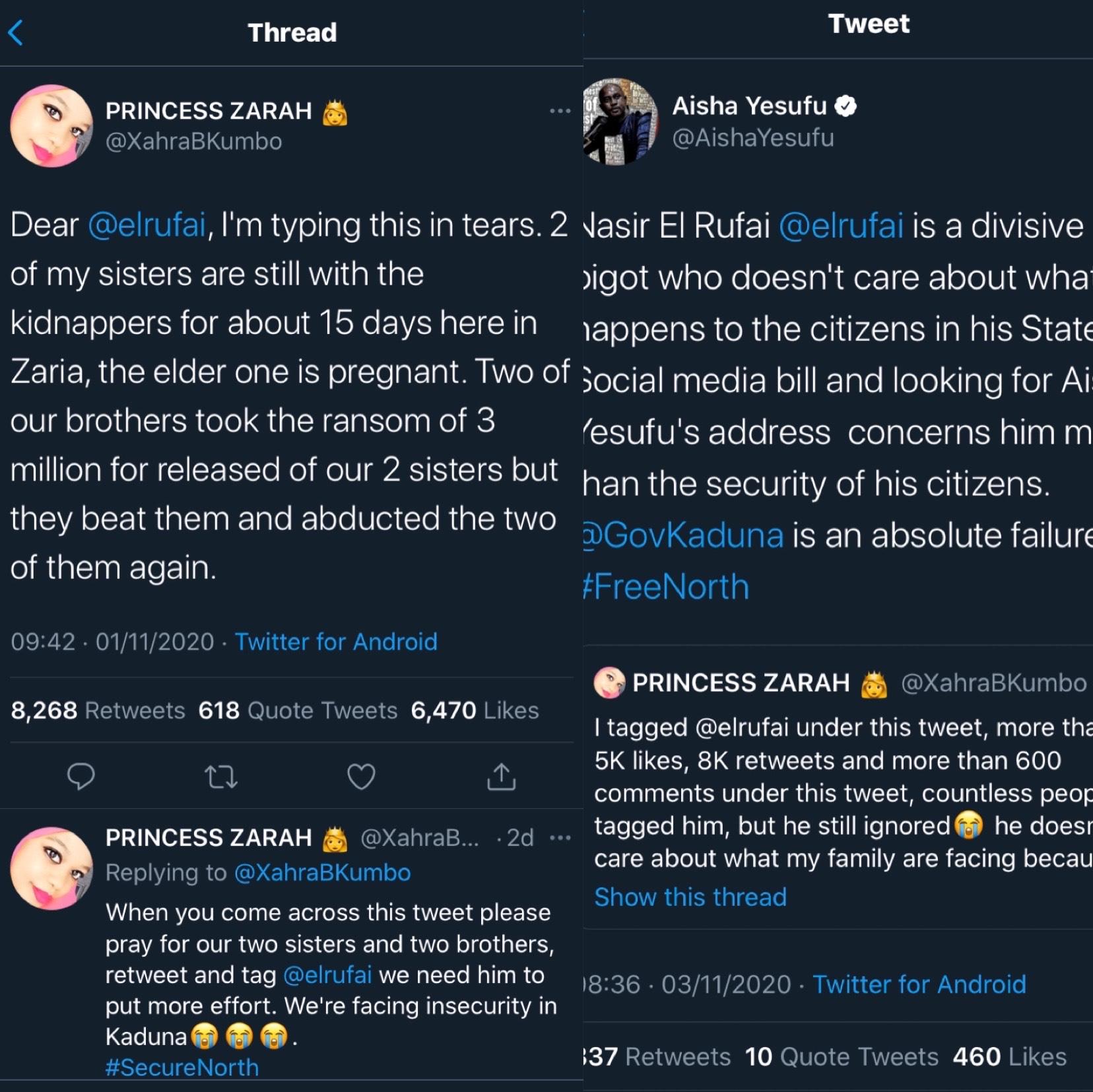 Nigeria news : Insecurity: El-rufai is a failure – Aisha Yesufu