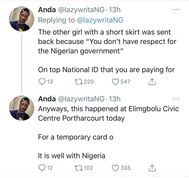 Nigerians react after lady was given thread and needle to sew her ripped jeans before she could get a National ID in Port Harcourt