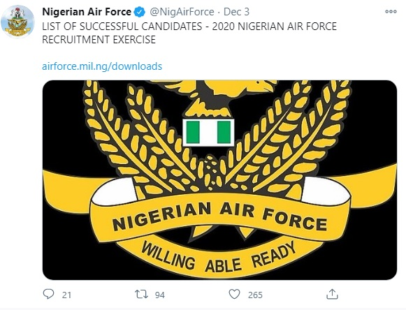 Nigeria news : Nigerian Air Force shortlists 920 candidates for training, issues directives