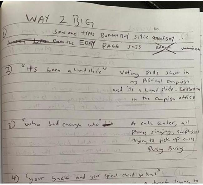 """""""People with bad handwriting are the most creative"""" – Reactions as Burna Boy's notebook surfaces online"""