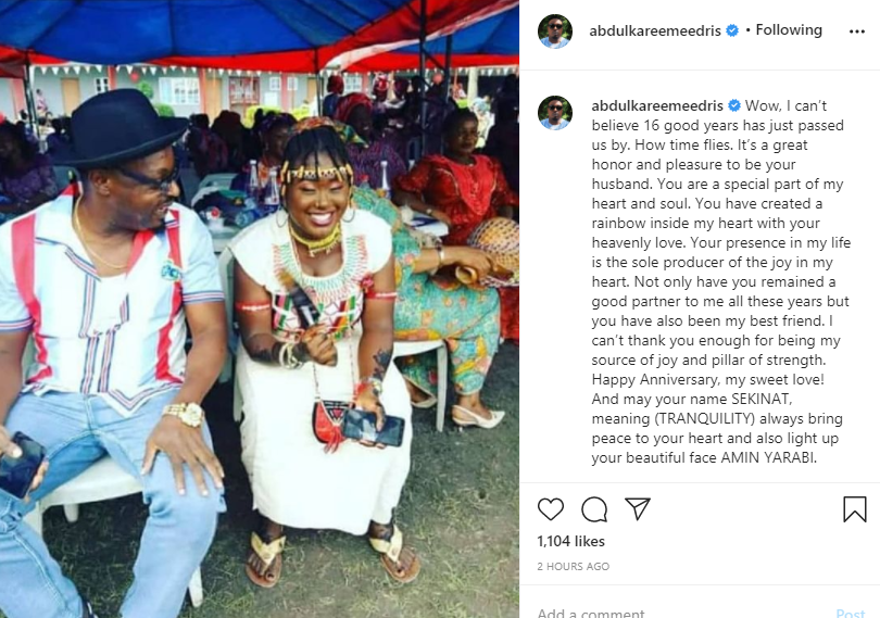 You are a special part of my heart and soul - Eedris Abdulkareem celebrates wife on 16th wedding anniversary lindaikejisblog 1