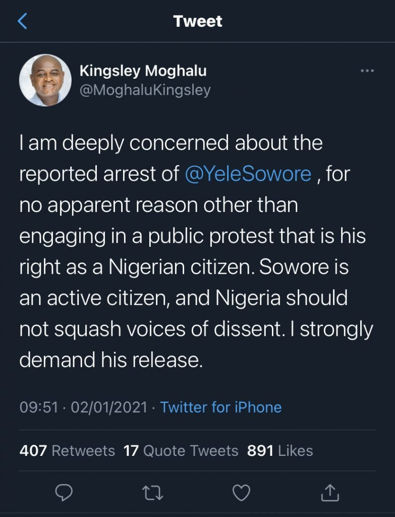 Nigeria news : Protest is his right – Moghalu demands Sowore's release