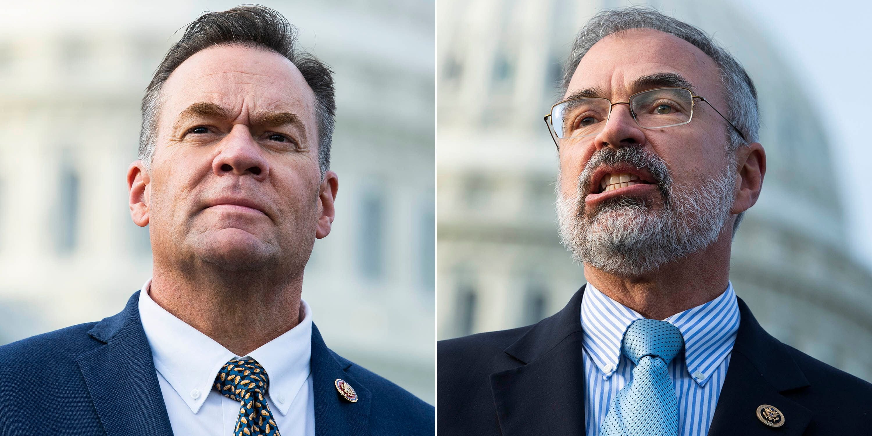 Rep. Russ Fulcher (R-Idaho), left, and Rep. Andy Harris (R-Md.) have come under scrutiny for incidents at the metal detectors