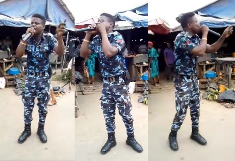 Police officer spotted in his uniform preaching at a market (video)