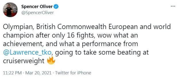 Former European champion Spencer Oliver