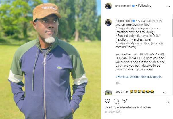 Reno Omokri tackles ladies who categorise ''sugar daddies'' as scum when the men dump them