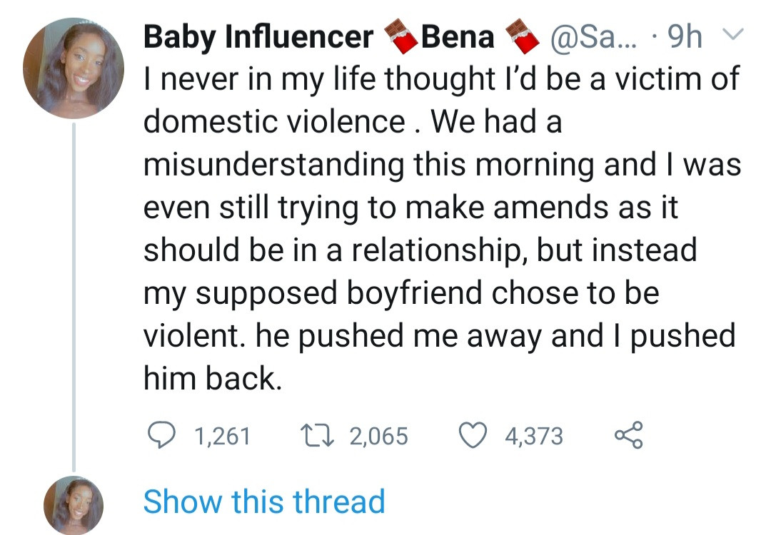 Twitter influencer accuses her boyfriend of abusing her and conniving with police to intimidate her; he responds with his side of the story