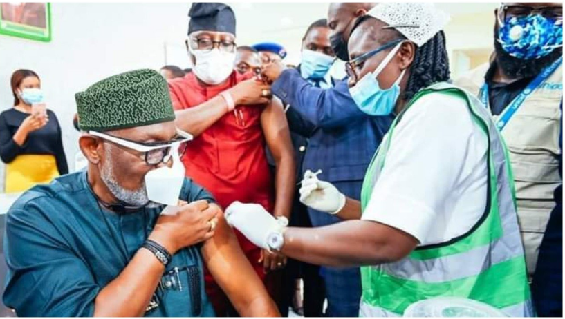 Nigeria News: COVID-19 vaccines Akeredolu takes first dose, flags-off vaccination in Ondo