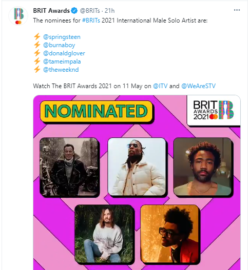 Burna Boy bags consecutive nomination for International Male Solo Artist at 2021 BRIT Awards
