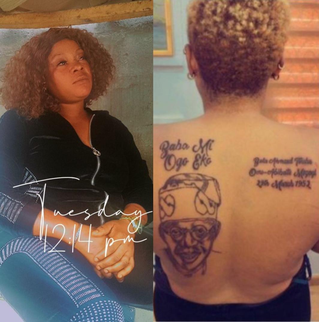 """""""Help me. My husband has sent me packing"""" Woman who drew tattoo of Tinubu on her back cries out (video)"""