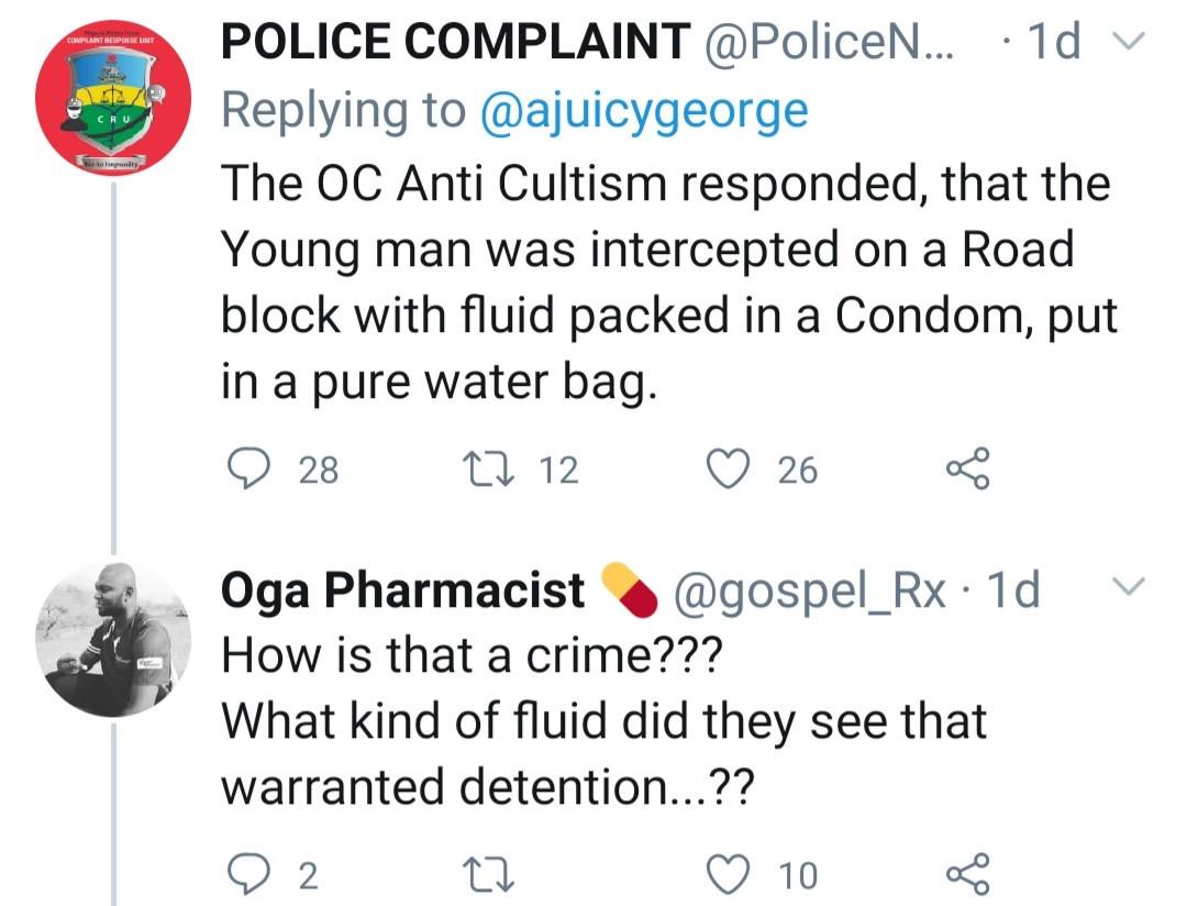 Man arrested for carrying a condom containing sperm; Nigerians react