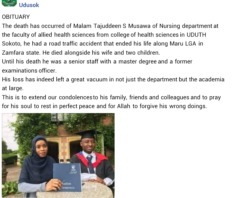 Sokoto University lecturer, his wife and two children die in fatal road crash
