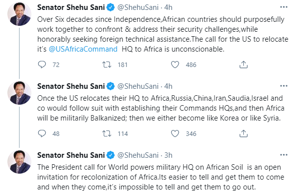 The President?s call for World powers military HQ on African soil is an open invitation for recolonisation of Africa - Shehu Sani 1