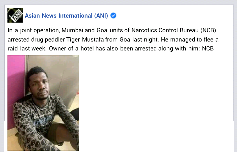 "Suspected Nigerian drug kingpin ""Tiger Mustafa"" arrested in India after two days on the run"