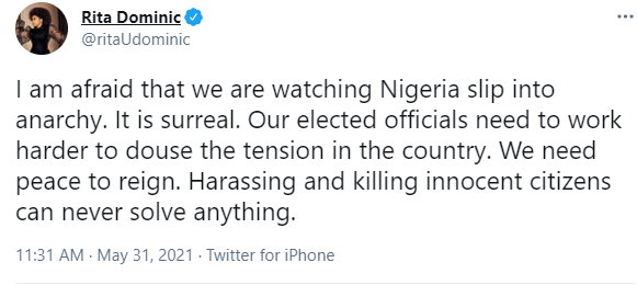 We are watching Nigeria slip into anarchy - Actress Rita Dominic