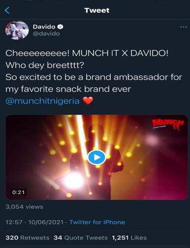 The Best Meets The Best: Davido Becomes Munch It Snack First Brand Ambassador