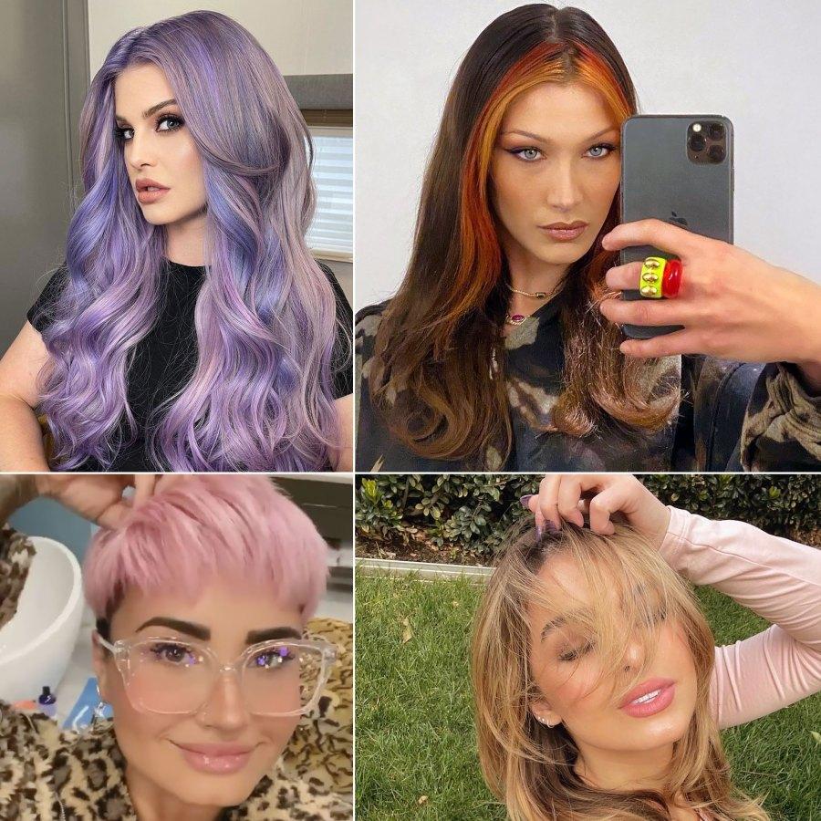Clockwise from top left: Kelly Osbourne; Bella Hadid; Addison Rae; Demi Lovato.