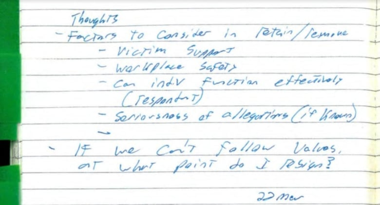 Acting defence chief's notes reveal weeks of intense discussions of how to handle Fortin allegation