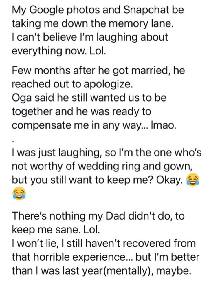 Woman recalls finding her man's wedding photos online the week he promised to introduce her to his family