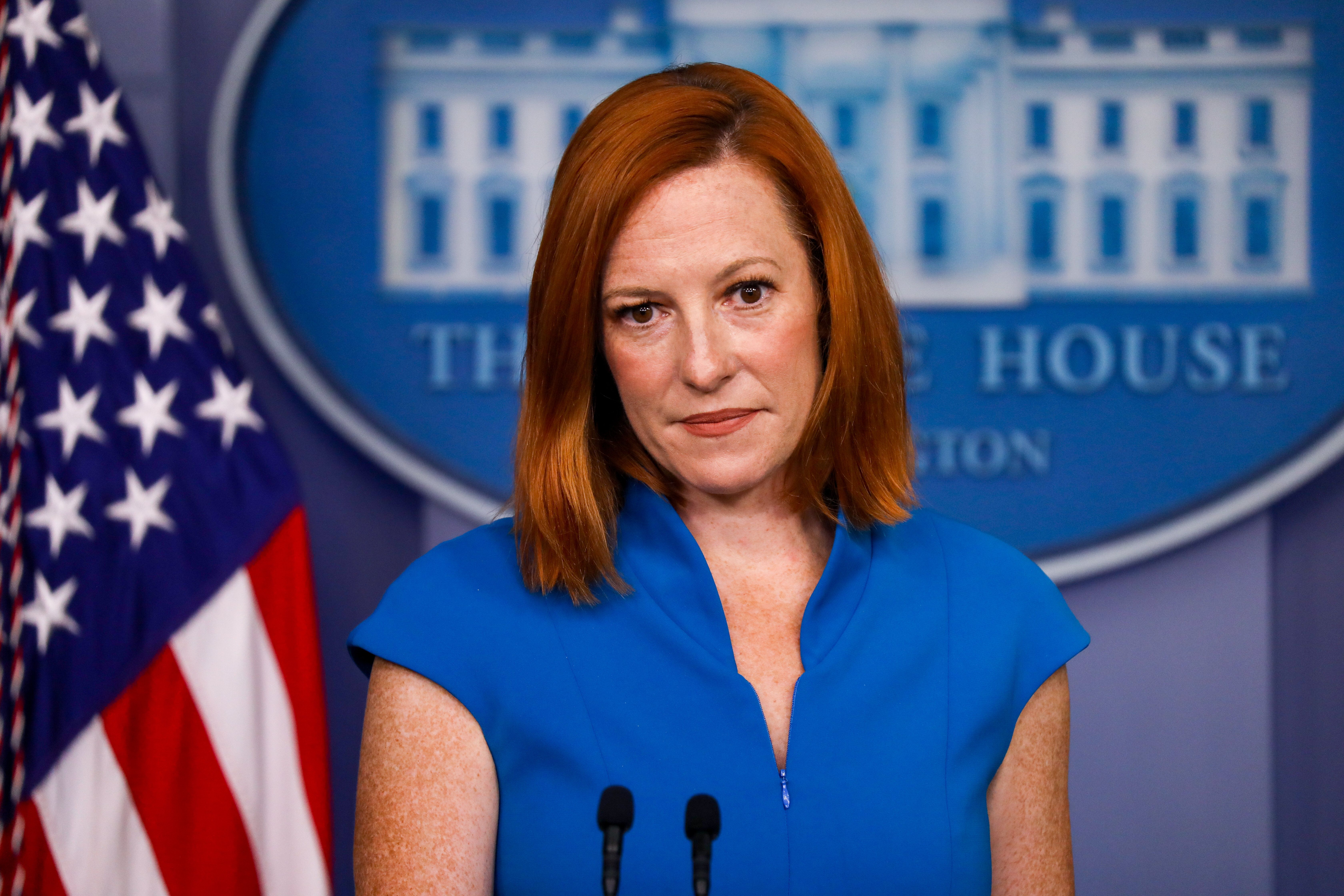 White House Press Secretary Jen Psaki says her encounters with Fox News reporter Peter Doocy are not nearly as dramatic when