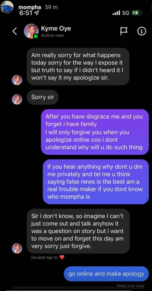 Bobrisky's ex-PA slides into Mompha's DM to apologise