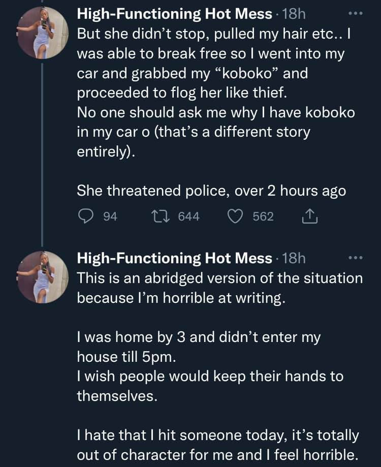 Lady narrates how she flogged an older woman for slapping her 4