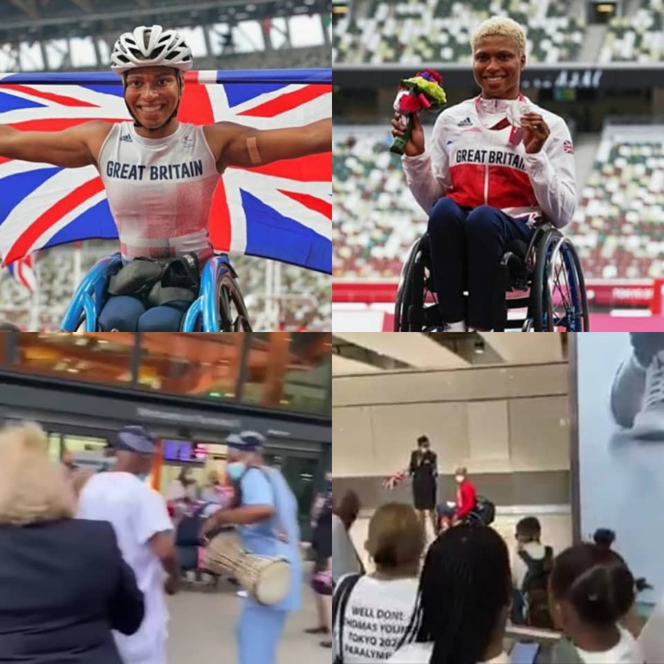Nigerian lady, Karen Adenegan, who represented Britain in the 2020 Tokyo paralympics and won two medals receives rousing welcome from her family at the airport