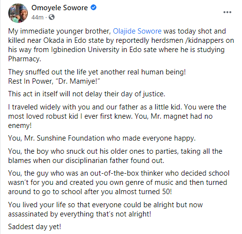 Omoyele Sowore's younger brother shot dead 1