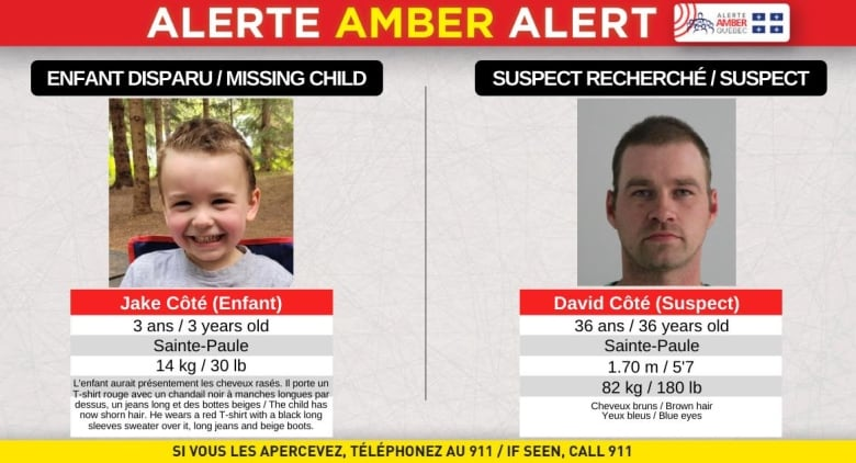 Quebec police say suspect in Amber Alert has survival skills as search drags into 3rd day