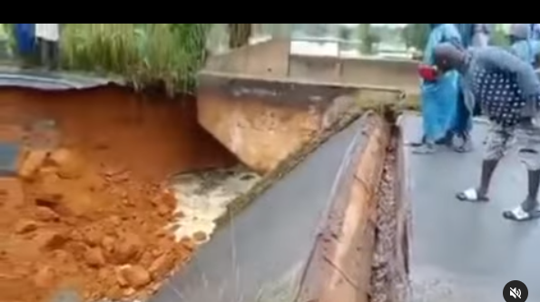 Section of a bridge in Uzere-Asaba expressway collapses after a heavy downpour