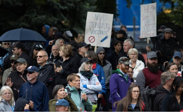 Thousands protest vaccine mandates in Calgary, as hospitals struggle with rising COVID cases