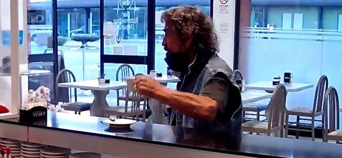 Italian man having coffee in a bar moments before killing his Nigerian wife, Amenze Rita