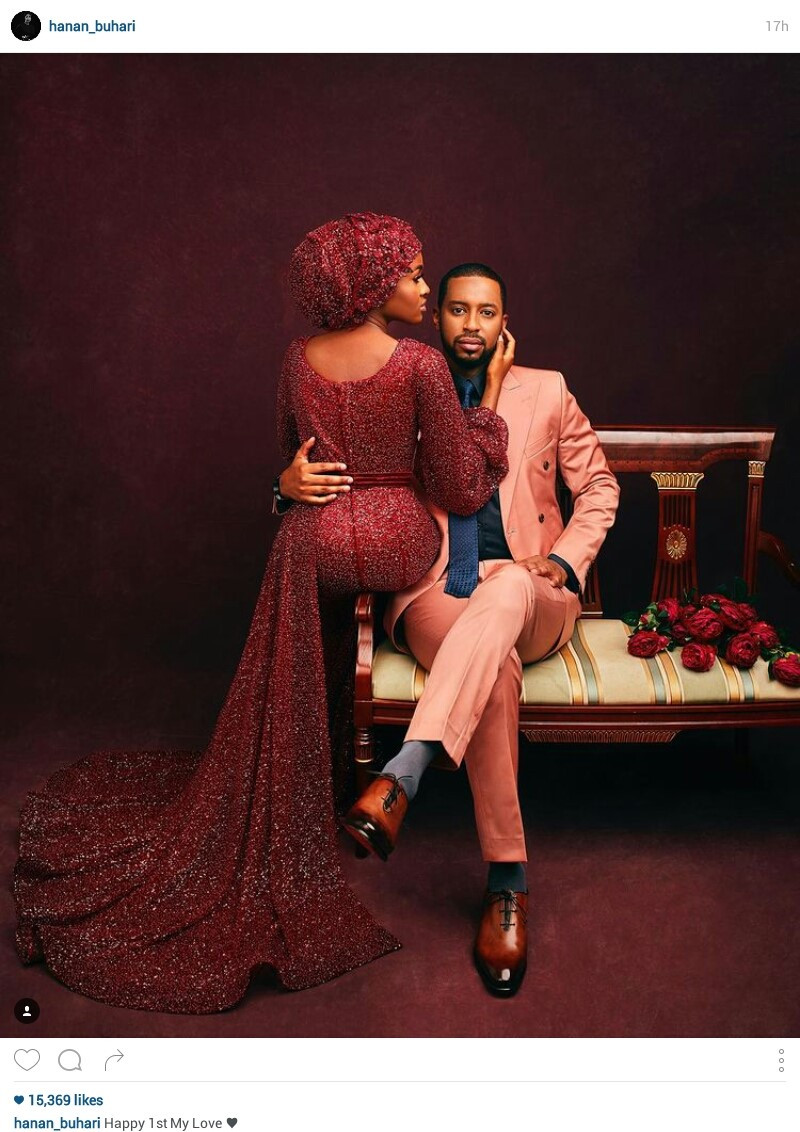 """""""You are a prayer answered"""" - Hanan Buhari and her husband, Mohammed Turad celebrate first wedding anniversary"""